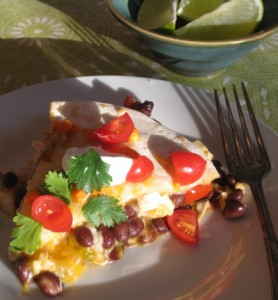 Mexican Pizza recipe with chicken and chile peppers.