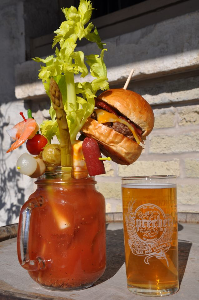 "The Bloody Masterpiece at Sobelman's Pub is ""garnished"" with 13 nibbles including a bacon cheeseburger slider!"